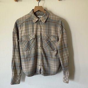 Rag & Bone blue tan plaid button down shirt SzM